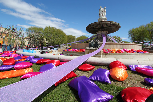 Feather-filled pillows around the Rotonde Fountain at the 2012 Aix-en-Provence Carnaval, France