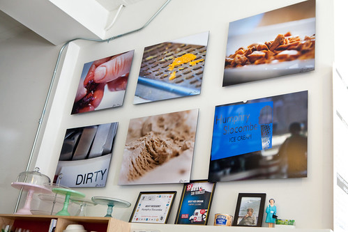 Photos of the ice cream shop on the wall