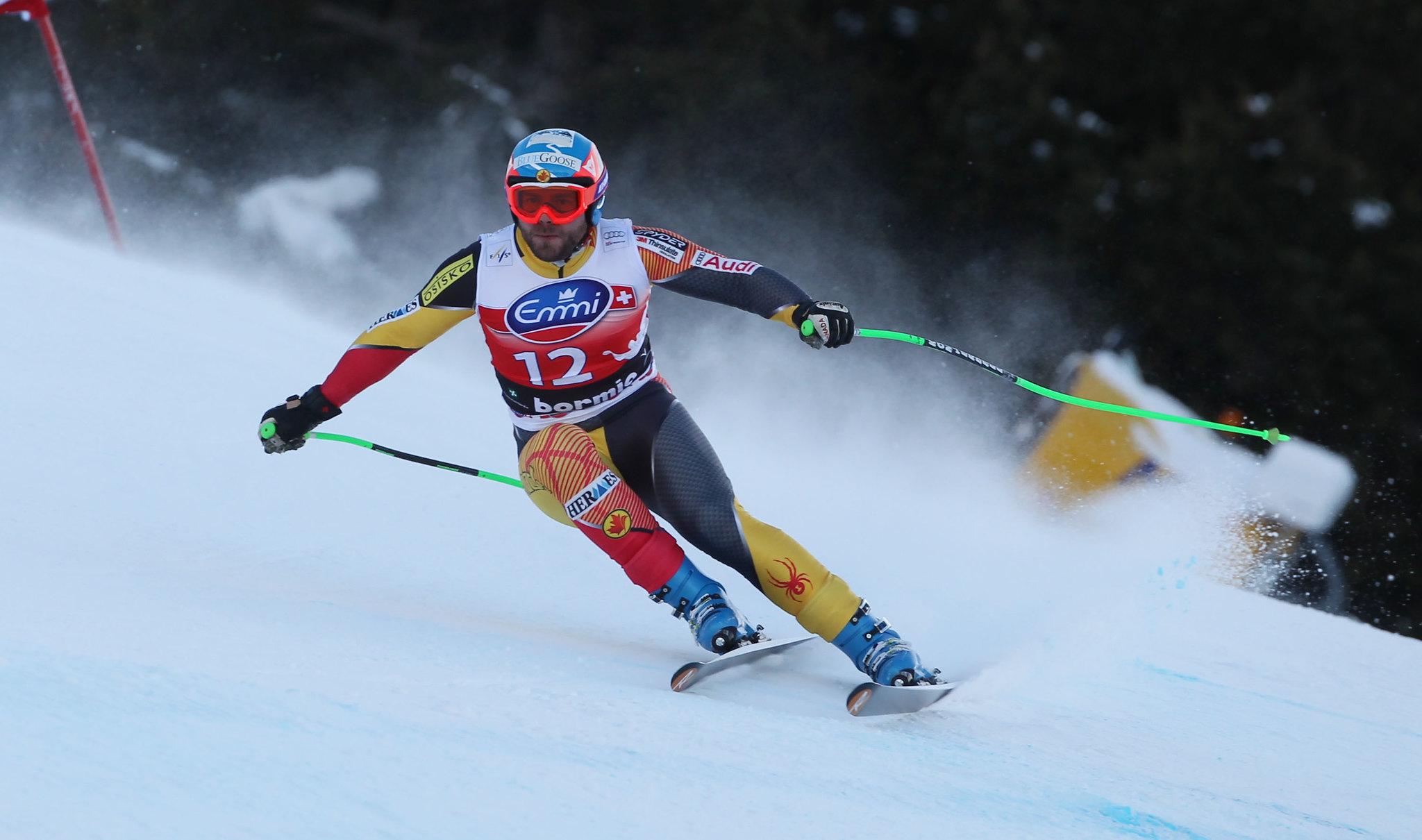 Jan Hudec carves down the men's downhill at the Bormio, Italy, World Cup.