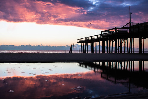 reflection sunrise hurricane maryland damage oceancity fishingpier ocmd hurricanesandy