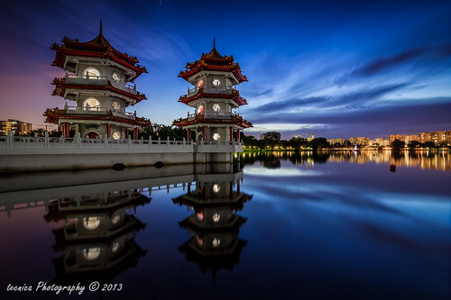 park city longexposure blue sunset urban reflection architecture garden japanese landscapes twilight singapore chinese hour pagodas exposureblending digitalblending