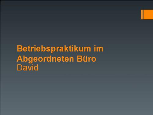 David - Betriebspraktikum
