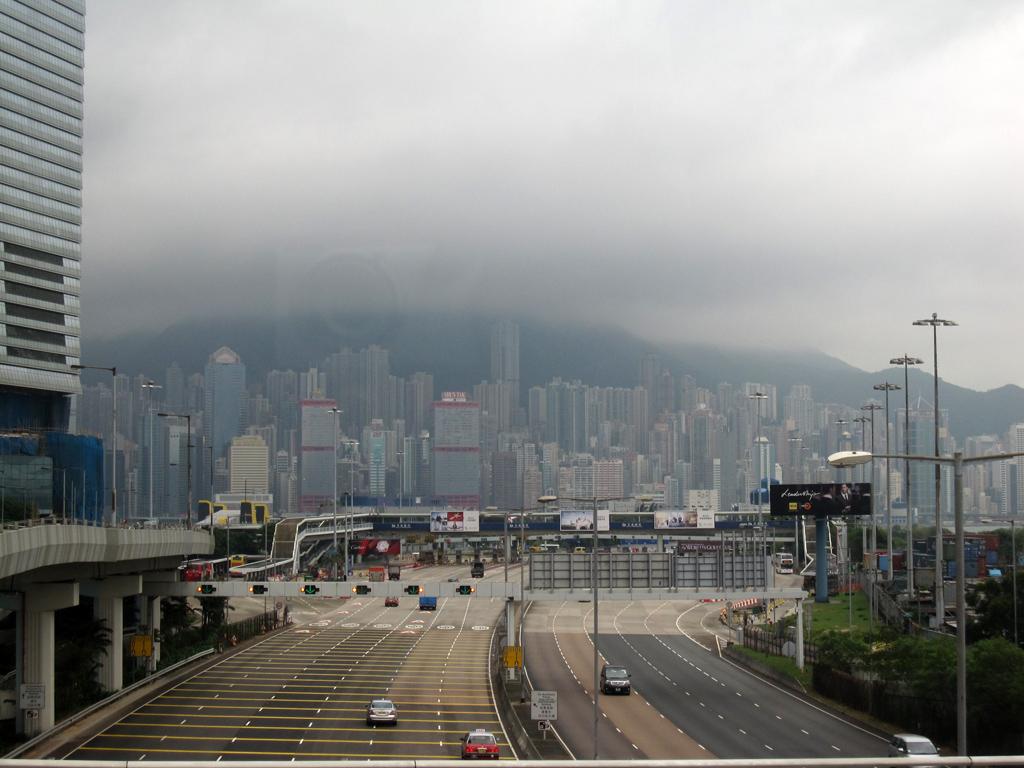 Coming into Hong Kong on a bus