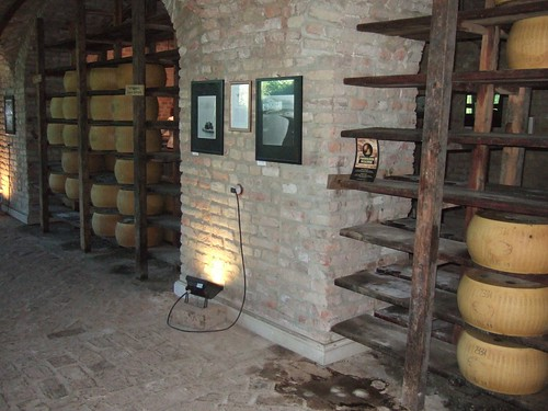 Aging parmesan wheels
