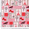M'Liss Visit to Paris Patch Red Cotton Fabric