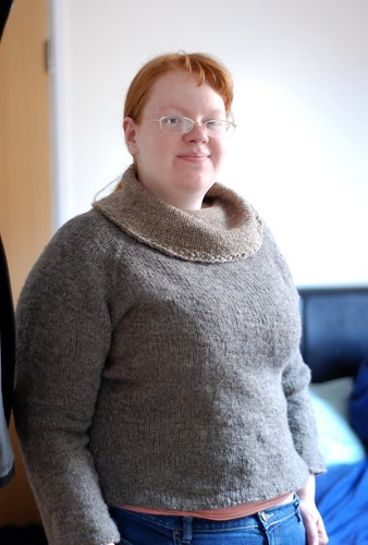 Handspun natural grey colored wool sweater with cowl neck