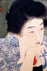 interaction(0.0), geisha(1.0), art(1.0), black hair(1.0), face(1.0), hairstyle(1.0), lip(1.0), head(1.0), hair(1.0), woman(1.0), female(1.0), drawing(1.0), illustration(1.0), blue(1.0), person(1.0),