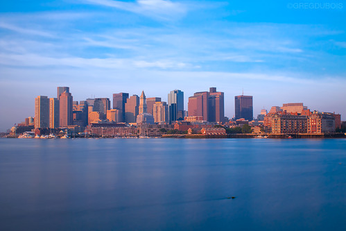 Boston Skyline from Lo Presti Park Pier, East Boston Early Morning ND Long Exposure by Greg DuBois Photography