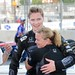 Sarah Fisher gives Josef Newgarden a hug following his 2nd place finish in the 2013 Grand Prix of Baltimore