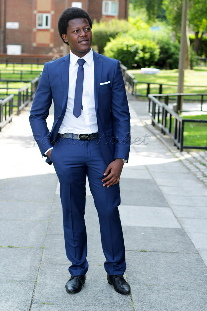 Get the Look: Harry Brown Slim Fit Bold Blue Two Piece Suit (бё75), OneSix5ive Slim Plain Red Tie (бё5), OneSix5ive Slim Fit Double Cuff White Shirt (бё15