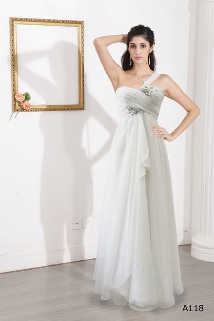 91b07ca5 ... Hvit kjole en skulder kjole hvit prinsesse kjole silkekjole   by  xubangwen