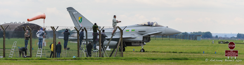 RAF Typhoon taxiing; Photographers; Fence; Ladder; Spotter; Wind Sock