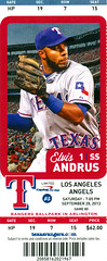 September 28, 2013, Texas Rangers vs Los Angeles Angels, Ballpark in Arlington - Ticket Stub