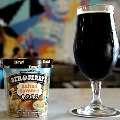 Product testing for our #SanDiego kickoff party tomorrow, 5-9p, featuring pairings like this @ModernTimesBeer Imperial Stout and @benandjerrys Salted Caramel Core. #boom #adultdesserts #craftbeer #SDbeer