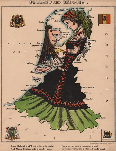 Caricature map of Holland and Belgium by Aleph