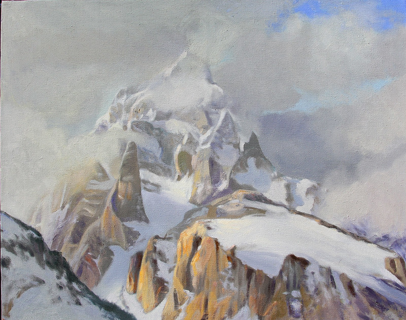 Oil on linen | 24 x 30 inches Not Available | Notes: The clouds gave this view of the Grand an epic quality that could stand in for what we love about the high peaks the world over.