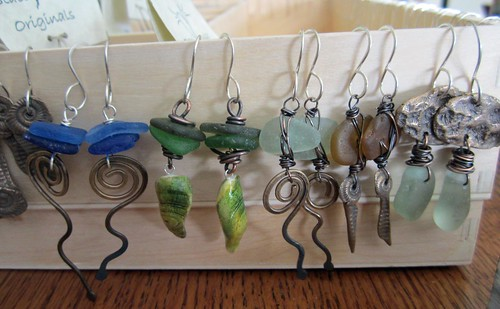 Sea skeleton and swirls sea glass earrings