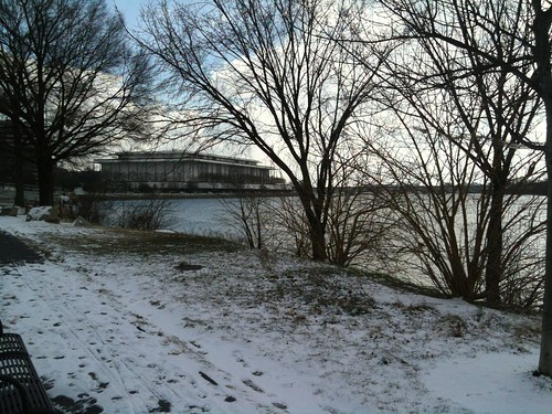 Snowy waterfront and Kennedy Center