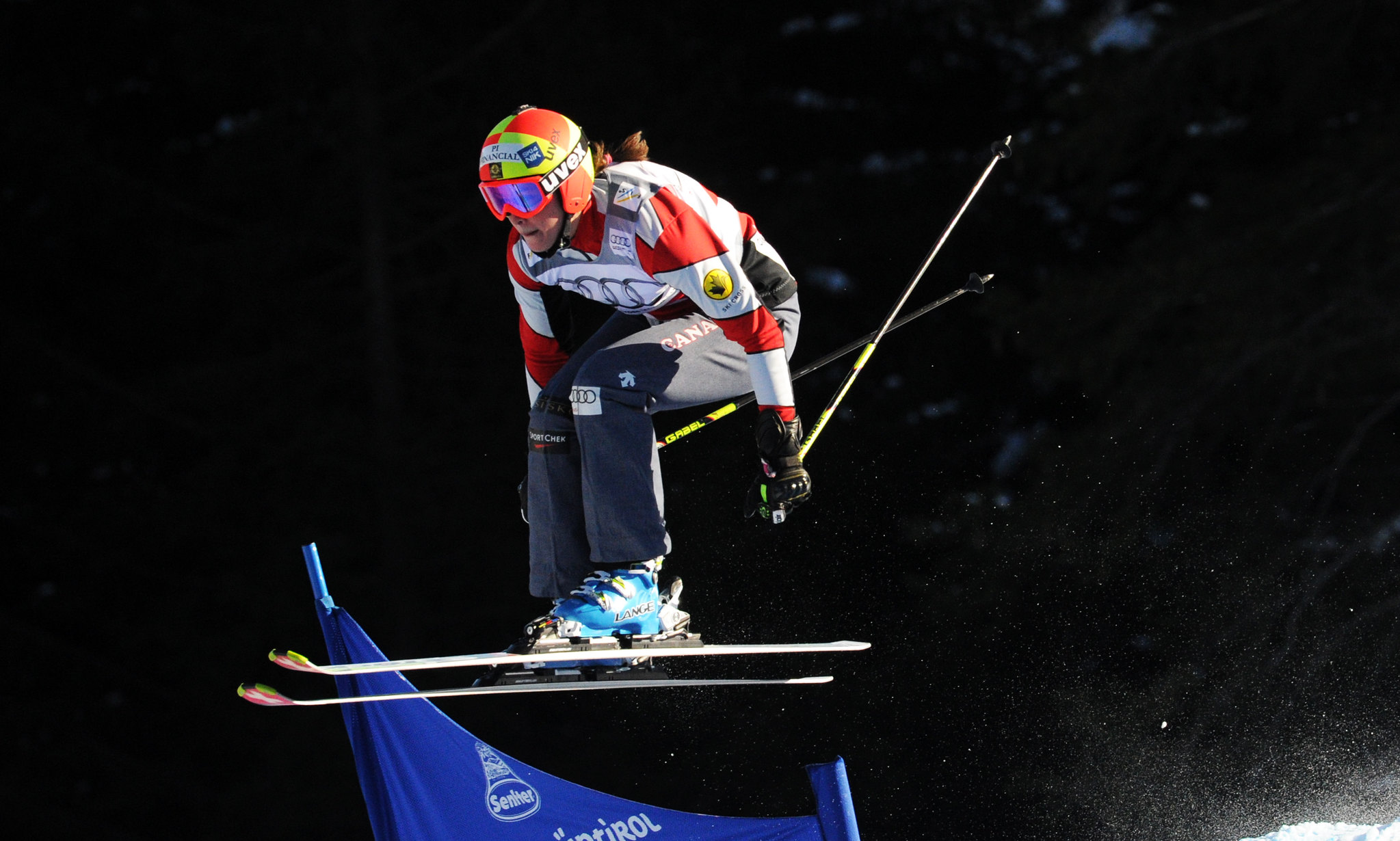 Marielle Thompson in a qualifying run at the ski cross World Cup in Innichen/San Candido, Italy.