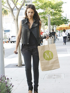 Jessica Alba Leather Vest Celebrity Style Women's Fashion