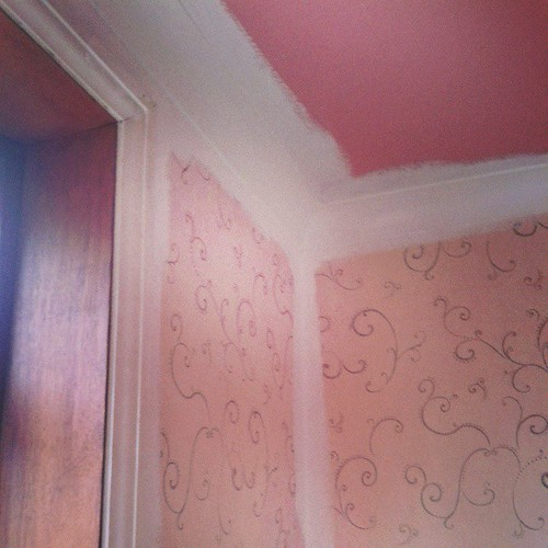 Rancid brown wood, pink ceiling and repulsive wallpaper meet Mr White Paint- who will be disguising your ugliness today!