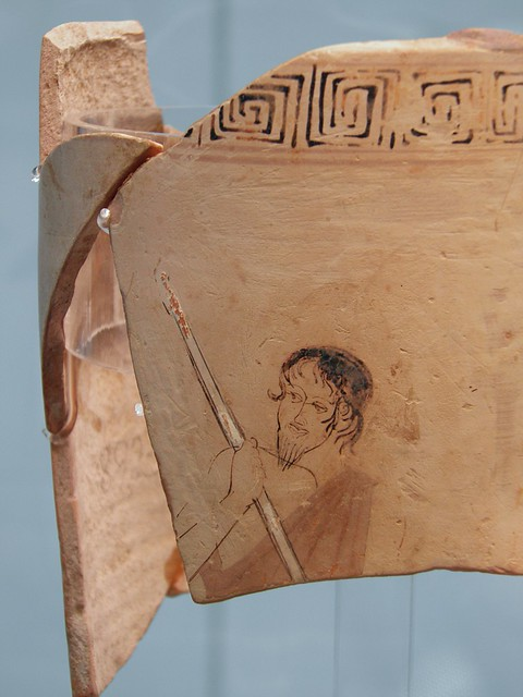 Attic white-ground Lekythos depicting Charon, the ferryman of Hades, pushing his boat across the Acheron, ca. 450 BC, Staatliche Antikensammlungen, Munich