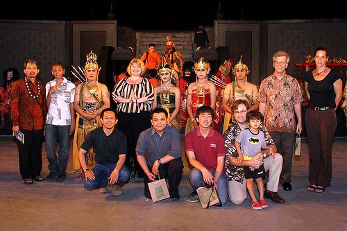 group shot with Indonesian dancers