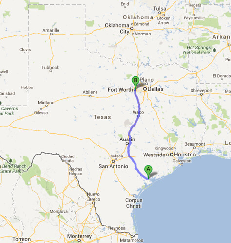 Ft Worth to Port Lavaca