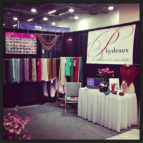 Super busy!  So far, lots of yarn interest + a videotaped interview :)  SO great to meet my yarn shops in person!  #tnna #phydeauxdesigns
