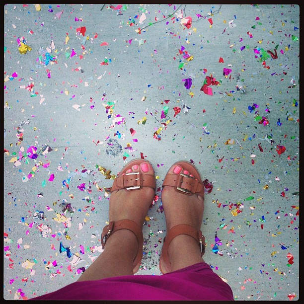 Glitter bombed! #fromwhereistand #confetti #sandals #kelsidagger #sf