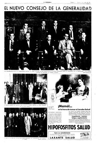 La Vanguardia 1 de julio de 1937, el nuevo consejo de la Generalidad, foto Agustí Centelles i Ossó (c) 2013 Archivos Estatales, MECyD, CENTRO DOCUMENTAL DE LA MEMORIA HISTÓRICA, todos los derechos reservados. by Octavi Centelles