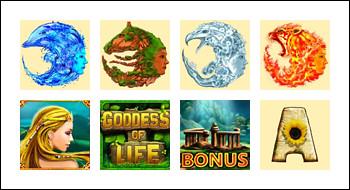free Goddess of Life slot game symbols