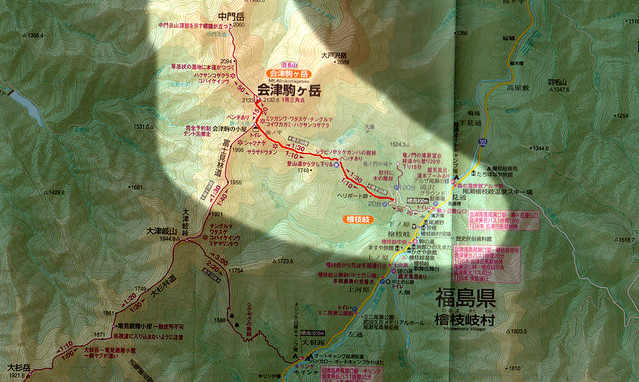会津駒ヶ岳の地図