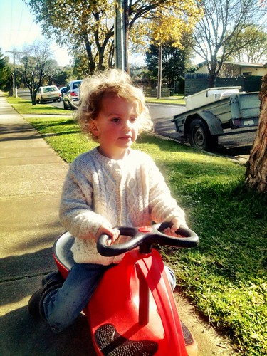 Scooting in the winter sun.