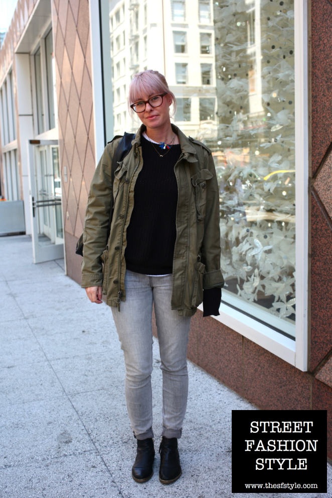 lilac hair, chelsea boots, cuffed denim, chunky sweater, knitwear, military, leather tote, san francisco fashion blog, TheSFStyle, SFStyle, street fashion style,