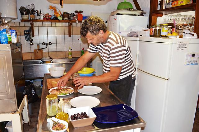 Mate prepares lunch, Konoba Lambik, Hvar, Croatia