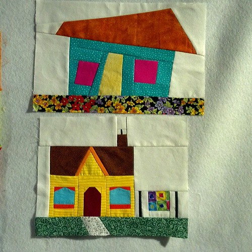 Houses, wonky versus paper pieced.