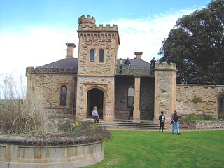 Front view of Holland House with tower and turrets. Now owned by the Department of Agriculture in South Australia. Located in the Barossa Valley.