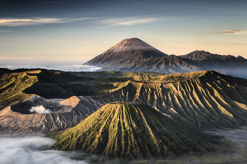 The active volcano in East Java, Indonesia.