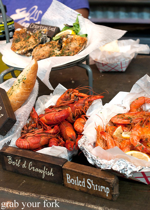 boiled crawfish and shrimp at the french market in new orleans louisiana