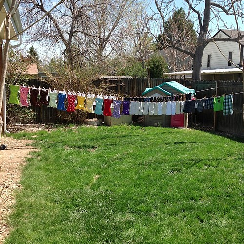 Laundry day begins with Shanes diapers. And with the return of summer comes the return of my clothes line! #clothesline #clothdiapering #fuzzibunz
