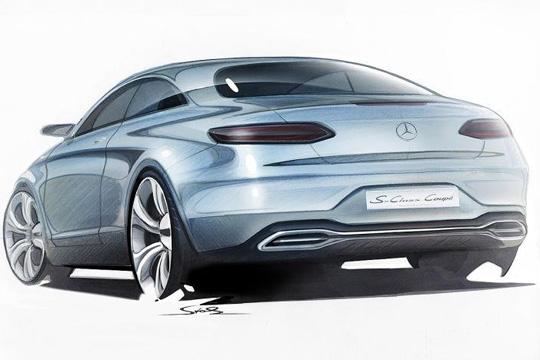 奔驰全新s级coupe设计草图; 尾灯采用横置式布局,使得尾部看上去