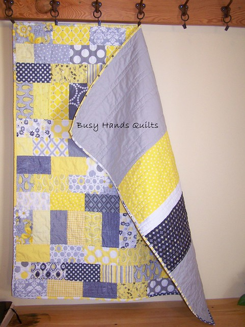 Gray and Yellow Baby Brick Quilt