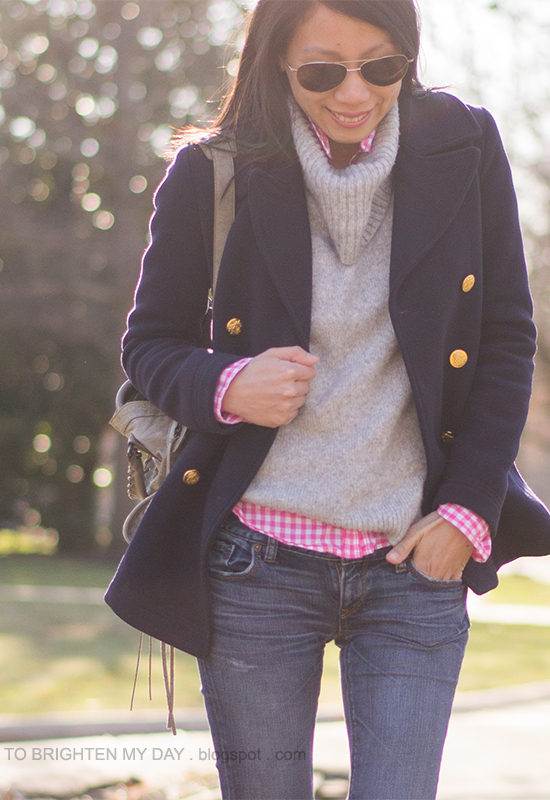 navy peacoat, gray cowl sweater, neon pink gingham shirt