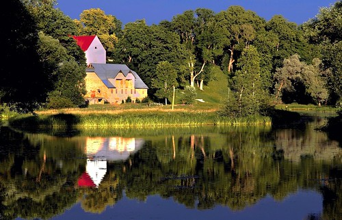 trees sunlight house lake reflection nature europe latvia aizpute