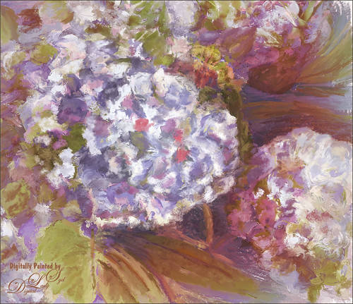 Image of painted purple hydrangea