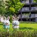 rabbit sculptures, public art decoration in community park in Taiwan
