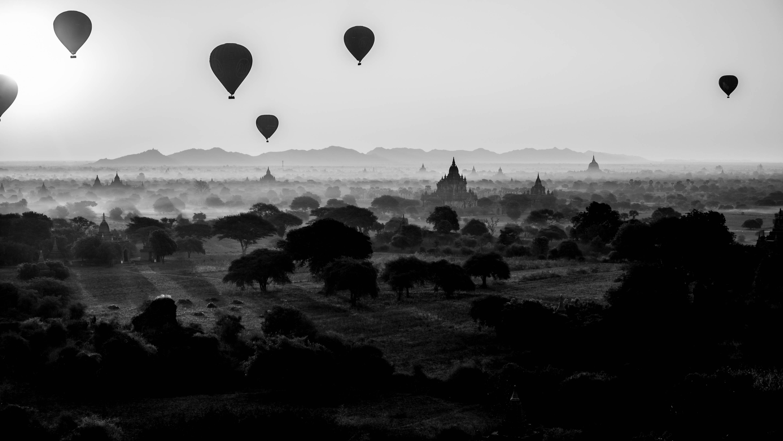 B&W sunrise in Bagan...