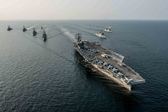Ships of Carrier Strike Group 5 and the Republic of Korea Navy steam in formation during exercise Invincible Spirit in October. (U.S. Navy/PO2 Nathan Burke)