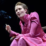 Rebekah Maggor as Margaret Webster, who narrates a parade of famous women thespians in the Huntington Theatre Company's